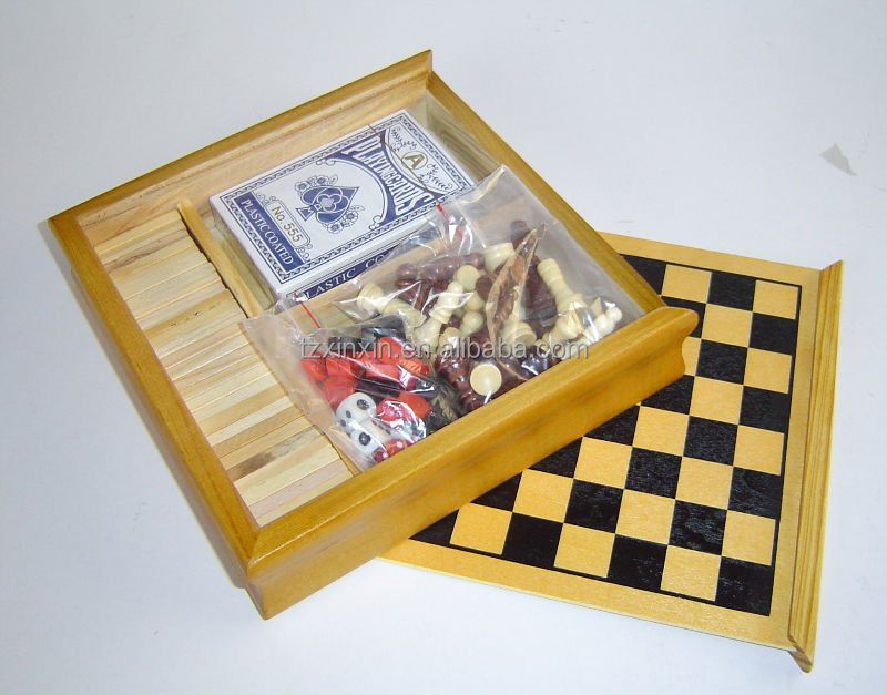 cheapest Multi-function Wooden Chess game ,travel 5 in 1 game set