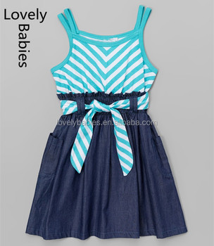 ff95ea6d42af Baby frock designs 2016 latest girl chevron and denim skater dress