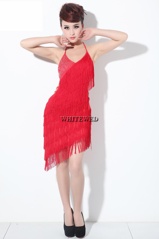 1c7fc4f997eed Get Quotations · Tassel fringed sequin backless latin argentine tango  ballroom dance salsa ball dancer dancing costume dress black