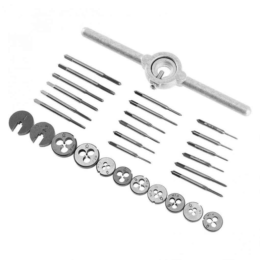 Xuanhemen 31pcs/set Mini HSS Metric Taps Die Wrench Handle Set M1.0/M1.1/M1.2/M1.4/M1.6/M1.8/M2.0/M2.2/M2.5 Screw