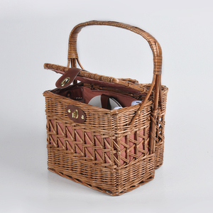 Wholesale foldable wicker cane picnic gift wine baskets with handles