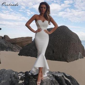 Sexy White Strapless V neck Ruffles Mermaid Maxi Beautiful Dresses Bandage Bodycon Dress For