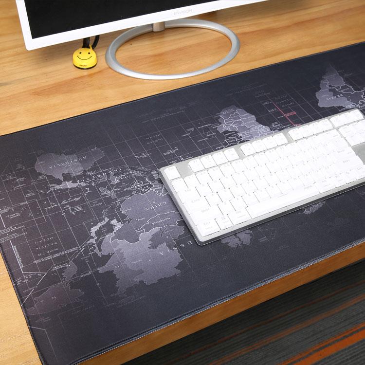 विश्व मानचित्र विस्तारित गेमिंग काले माउस पैड बड़े आकार 900x400mm के साथ कार्यालय डेस्क पैड चटाई सिले किनारों पीसी लैपटॉप कंप्यूटर के लिए