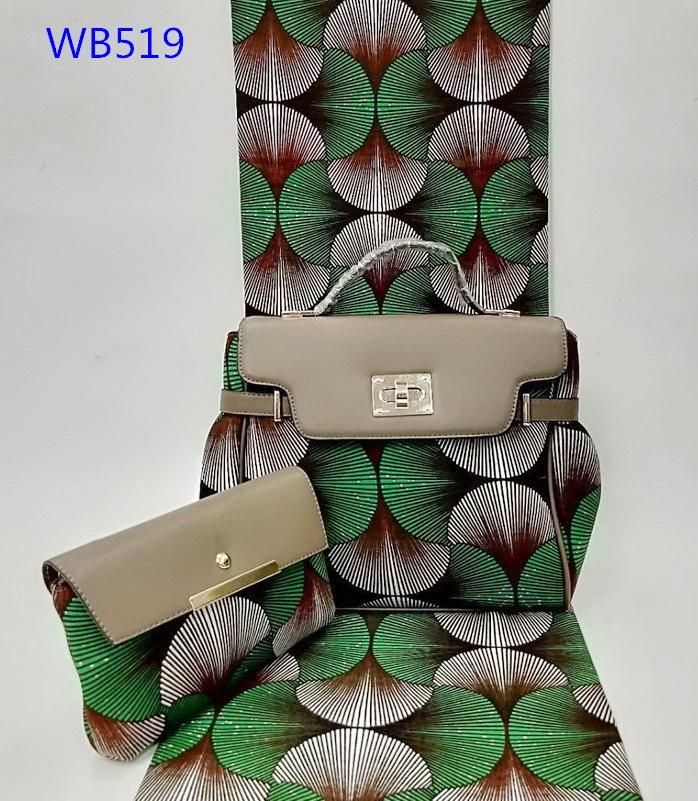 Wholesale 100% cotton wax fabric african wax prints fashion bags ladies handbag set