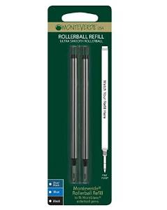 Monteverde Rollerball Refill to Fit Montblanc Rollerball Pens, Fine Point, Black, 2 per Pack (M222BK)
