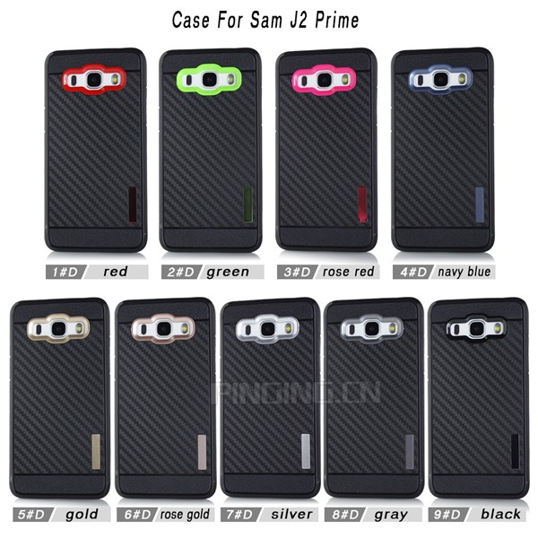 Durable shockproof tpu carbon fiber case for samsung galaxy j2 prime