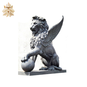Hand carved outdoor stone wings lion statue for sale NTBM-L374A