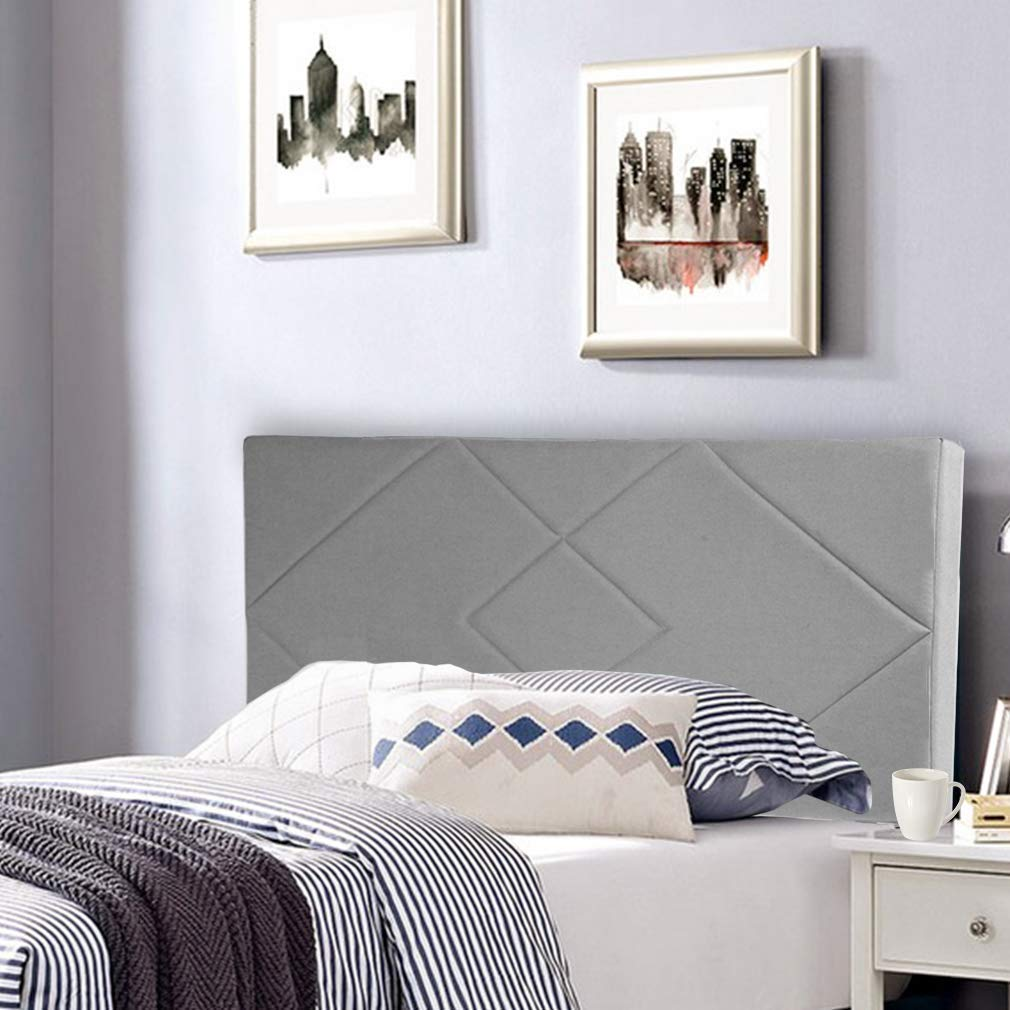 Headboard Fabric Upholstered Full/Queen Size Headboard with Modern Linen Tufted Heavy Duty with Nailheads in Gray