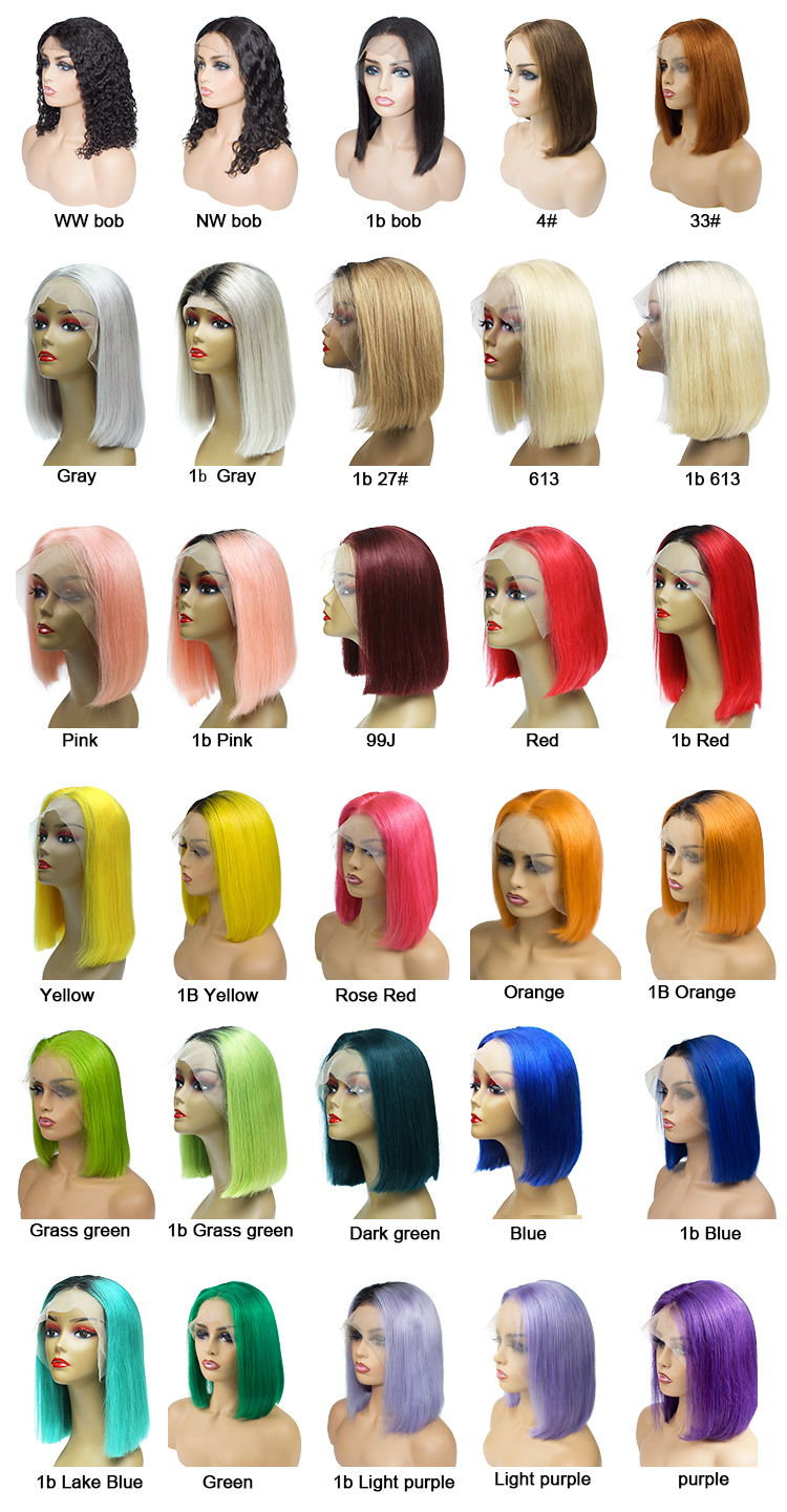 Morein hair 180 density silk top 613 blonde platinum blonde cuticle aligned human hair lace front bob wig for women