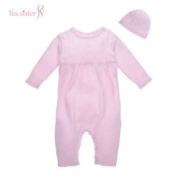 883486dc76ed Cotton Kids Sweater Knitting Plain Pink Rompers Newborn Baby ...