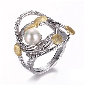 Fashion Freshwater Pearl 925 Sterling Silver Jewelry with Yellow Gold Plated