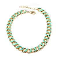 N047 Gold Tone Choker Chain Enamel Dot Design Special Style Indian Necklace