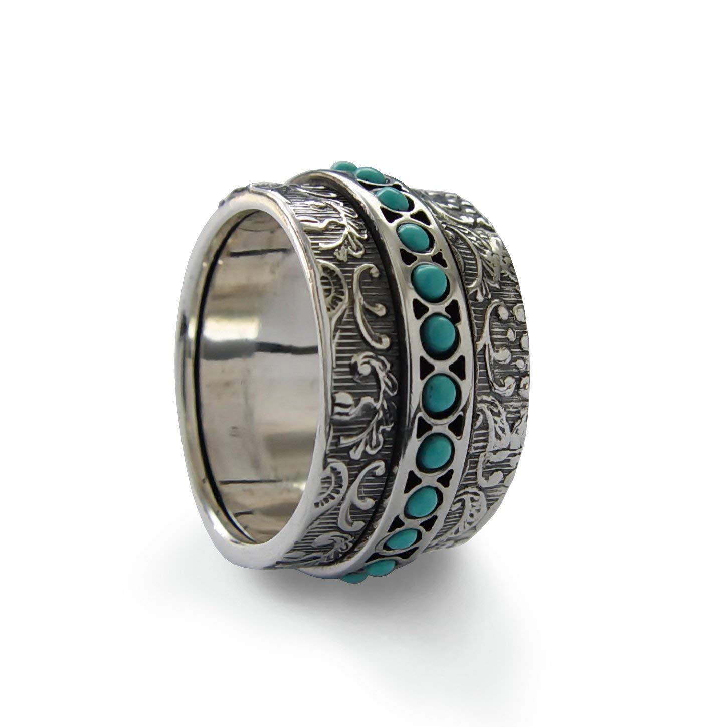 Turquoise spinner band, Vintage style silver spinner ring, Turquoise band, Gemstone band, worry ring, Floral silver band, Wide silver band, Woodland ring, fidget ring