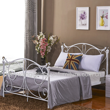florence double white metal bed frame with crystal finials