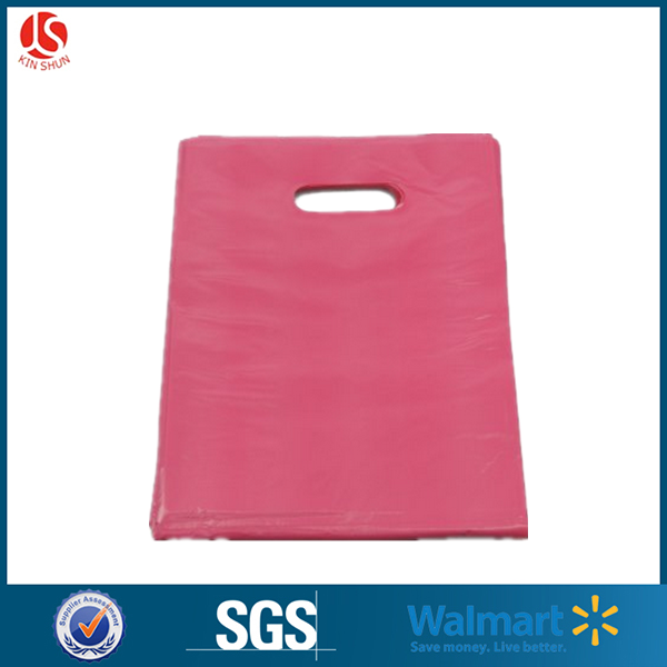 China wholesale 9x12 Glossy Pink and Purple Plastic Merchandise Bags, Die Cut Handle Bag