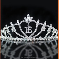 16 heart princess sweet sixteen/16th birthday crystal tiara crown
