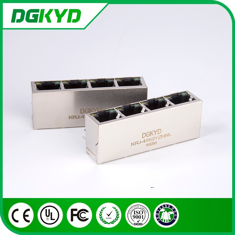 Metal shielded 1x4 multiple port RJ45 modular jack , 8P8C , 100 BASE-T