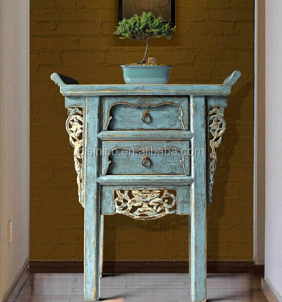 Chinese Side Table.Chinese Style Wooden Console Table With Drawers Antique Hallway Side