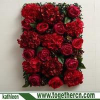 Wedding Party Decor Wall Background Artificial Silk Red Rose 3D Flower