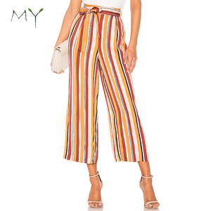 Womens Multicolor Stripped Wide Leg Cropped Pants with Tie Detail