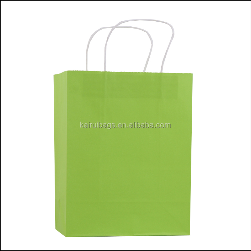 2017 cheap unique decorative green craft paper party bags kraft paper bag