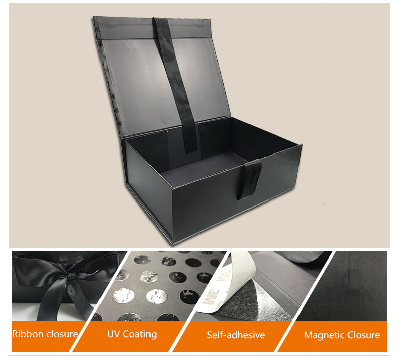 Wholesale Black Cardboard Magnetic Gift Boxes