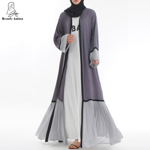 high quality Pleats Style Muslim Dubai Open Kimono customized women abaya Islamic clothing
