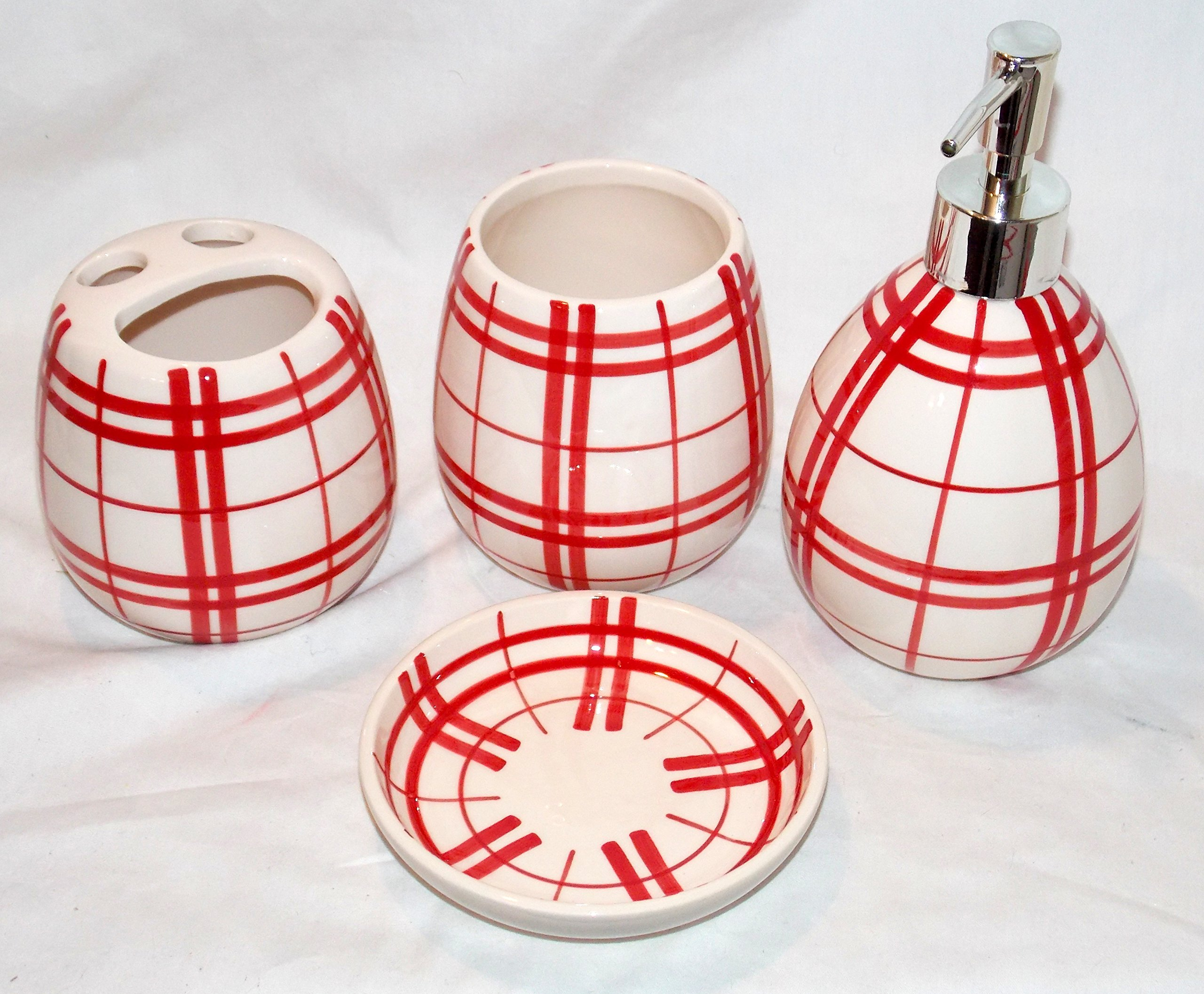 Buy 4pc Bathroom Accessory Set Red White Checkered Soap Dispenser