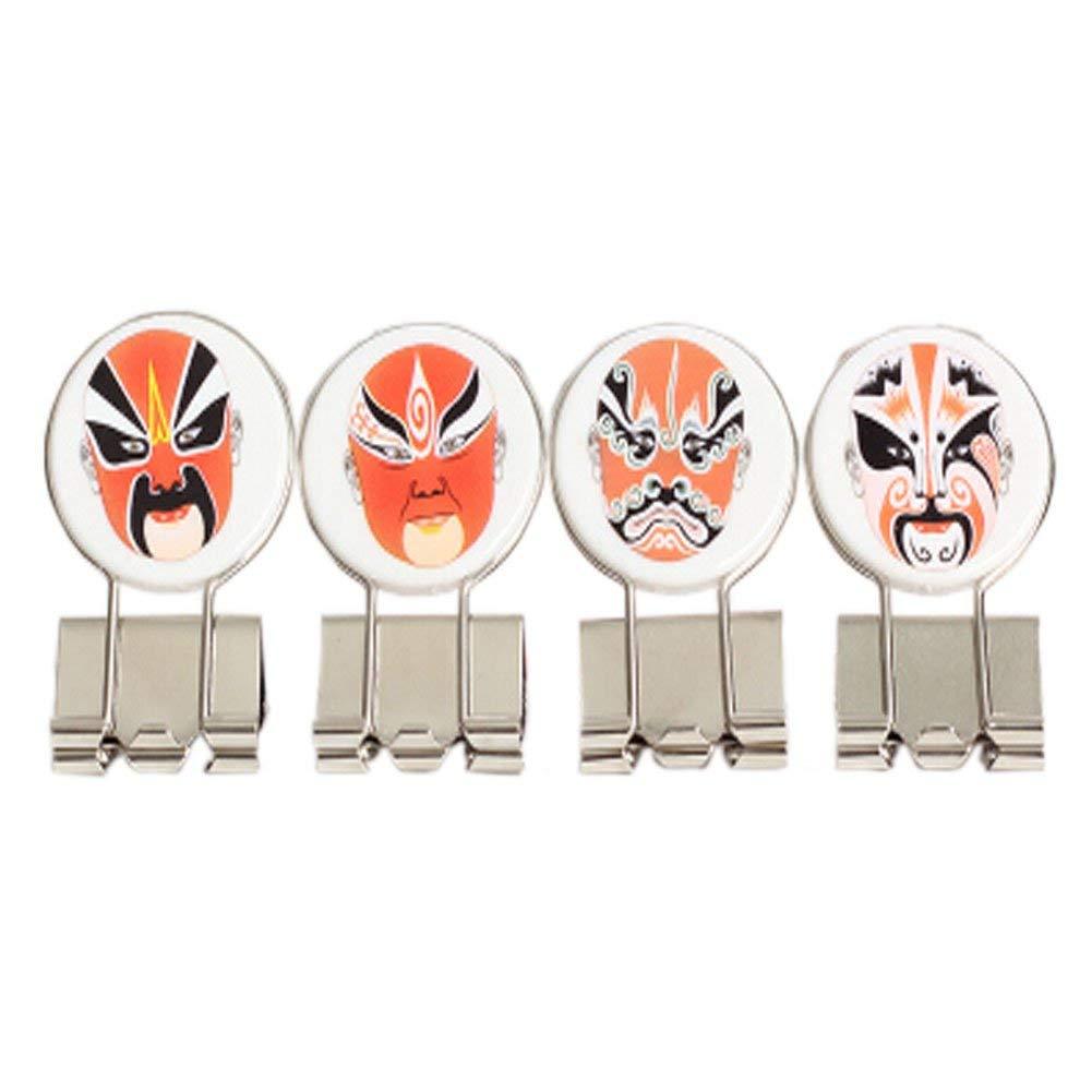 Set of 4 Retro Chinese Peking Opera Makeup Metal Binder Clips/Paper Clips/Decors