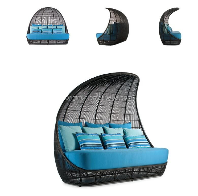 Ancient Reed Boat design wicker cocoon shaped day bed with high ...