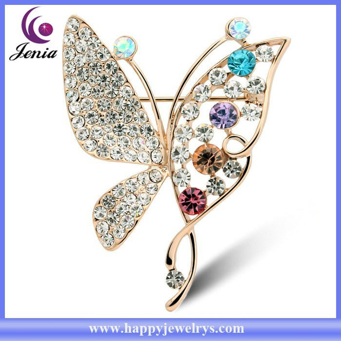 New sparkling Austrian crystal butterfly design 18k gold plated women wholesale bulk brooch ( YWZ4988)