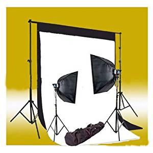 CowboyStudio 320 Watt Photography Studio Monolight Flash Lighting Kit - 2 Studio Flash/Strobe, 2 Softboxes, 1 Background Support System, 10-Inch x 13-Inch Black & White Muslin Backdrops and Carry Case
