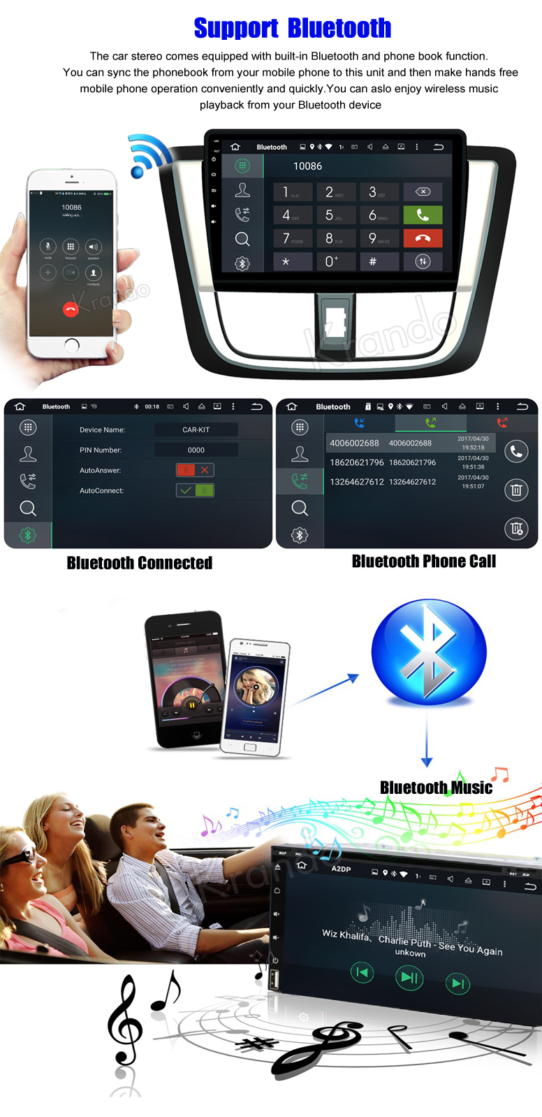 "Krando Android 6.0 10.1"" touch screen car radio for toyota vios yaris 2017 2018 car multimedia WIFI 4G LTE 2G RAM KD-TY017"