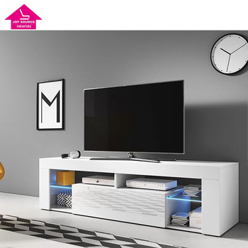 LED LCD High Gloss White TV Floor Stand Furniture