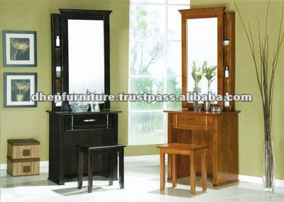 Wooden Dressing Table With Stool And Mirror Modern Mirrors