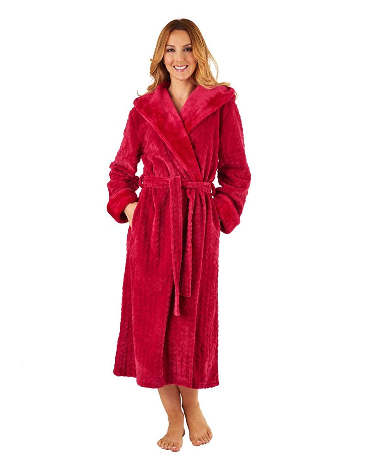 0649d862ae Get Quotations · Slenderella HC8333 Women s Raspberry Red Long Sleeve Robe  Dressing Gown