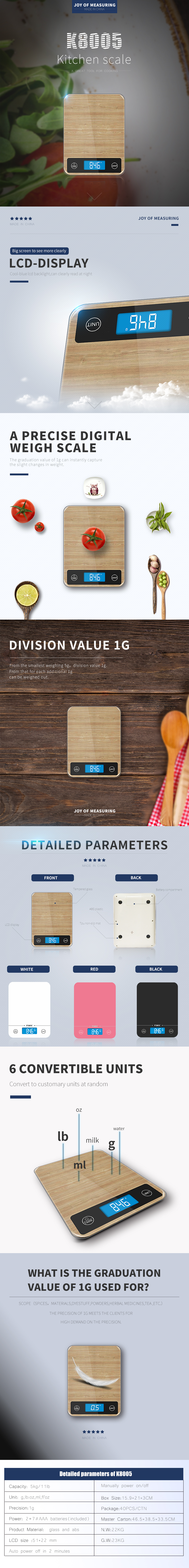 2020 Christmas Gift Product  hot sale 22lb/10kg Digital Kitchen Food Scale Household Personal Food Weight Scale