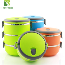 Homee colorful food container 3 compartments tiffin bento lunch box kids stainless steel bento lunch box