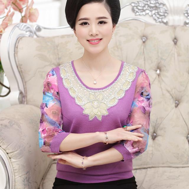 8a09715104f Женщин свитер чистая рукава кружева чистая пряжа сращены о-образным вырезом  женщин-женщин .