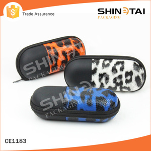 Wholesale Stylish Custom Leopard PU Leather EVA zipper quality eyewear case