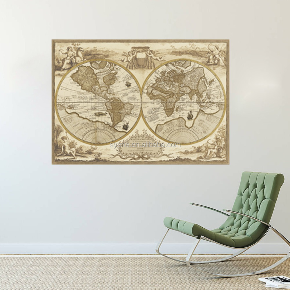 Syene Wholesale Large Vintage World Map Wall Stickers Home - Retro world map poster