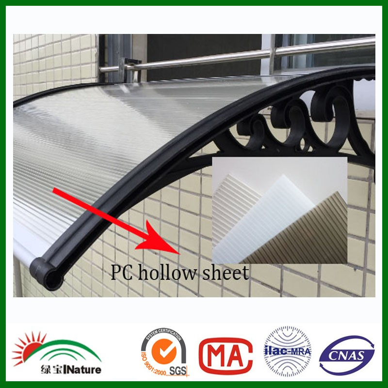 Factory 3mm 5mm large canopy plastic canopy bronze awning