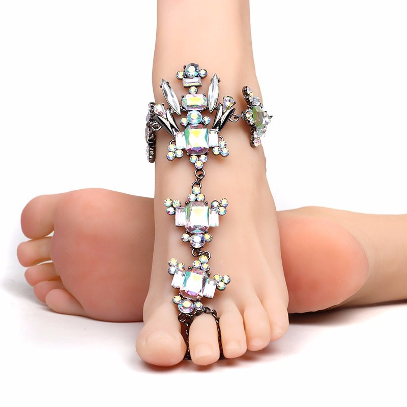 82f4d5732058 Crystal Barefoot Sandals Bridal Anklet Beach Foot Jewelry - Buy Foot ...