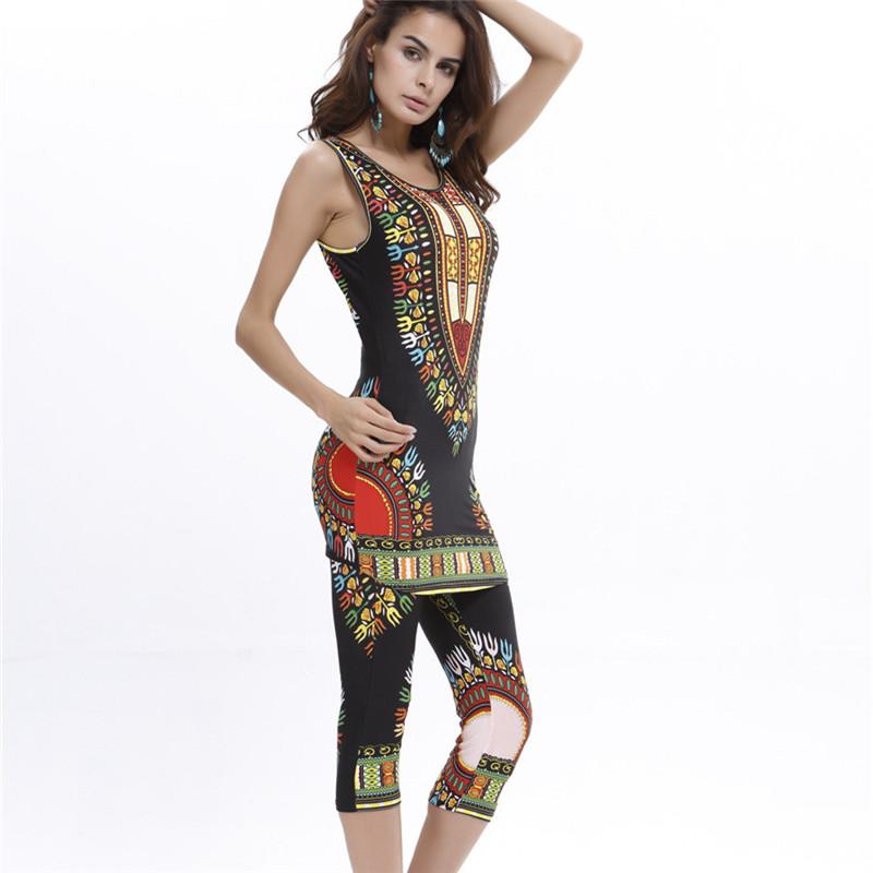 Fashion Summer Clothing Set Women Vintage Print Bodycon Vest Pant Trousers 2 Pieces Suit Elegant Combinaison