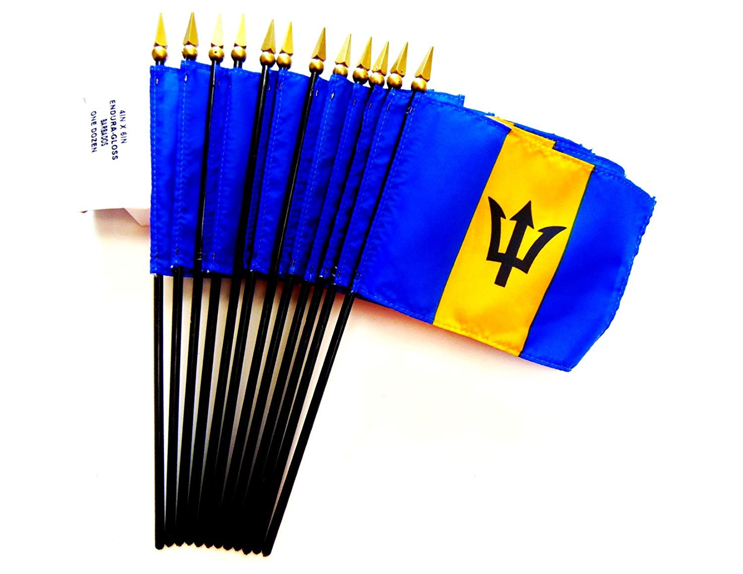 "MADE IN USA!! Box of 12 Barbados 4""x6"" Miniature Desk & Table Flags; 12 American Made Small Mini Barbadian Flags in a Custom Made Cardboard Box Specifically Made for These Flags"