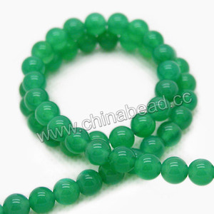 Natural gemstone, 8mm round green agate stone
