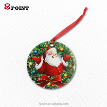 2018 rotondo in bianco <span class=keywords><strong>di</strong></span> legno sublimazione <span class=keywords><strong>ornamenti</strong></span> <span class=keywords><strong>di</strong></span> <span class=keywords><strong>natale</strong></span>