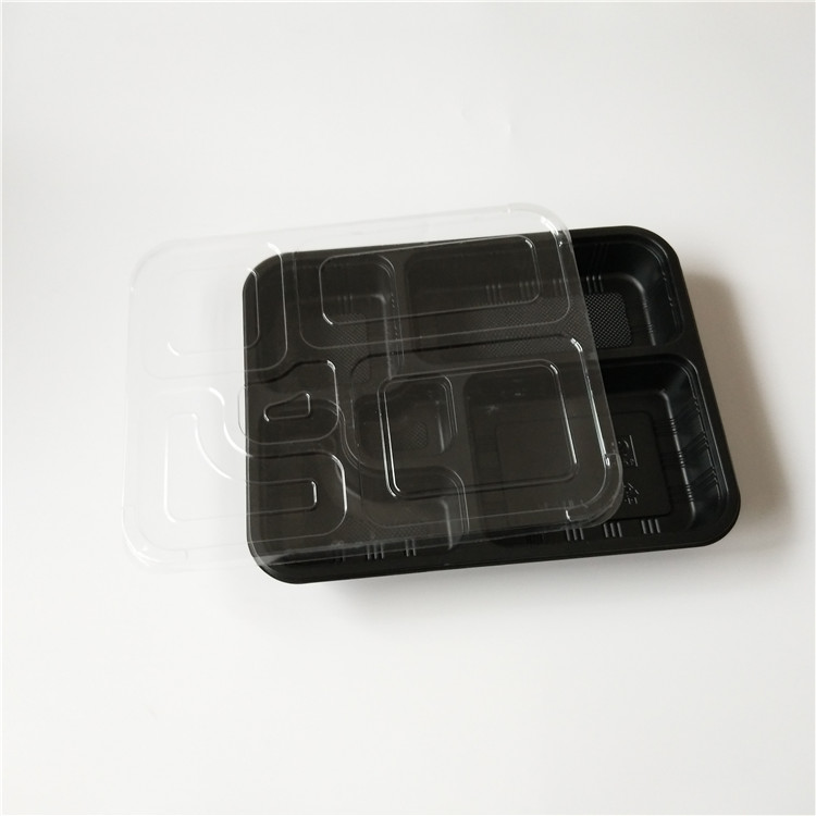5 Compartments disposable food storage container with ops lid