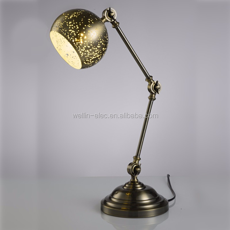 Vintage Iron Etching Creative Desk Lamp E27 110V 220V Table Lighting Living Room Bedroom Bedside Table Lamp