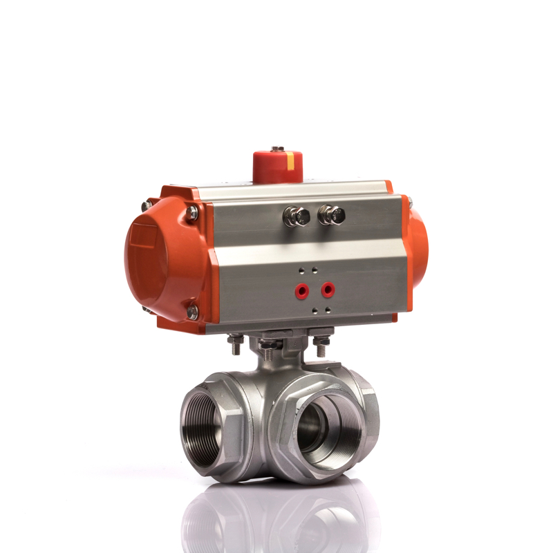 KLQD Brand Pneumatic Control 3 Way Self Closing Ball Valve